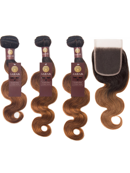 "Sahar Essential Virgin Remy Human Hair Extensions Bundle (8A) - #OT30 Body Wave 14""+16""+18"" Closure 4x4"" 16"""