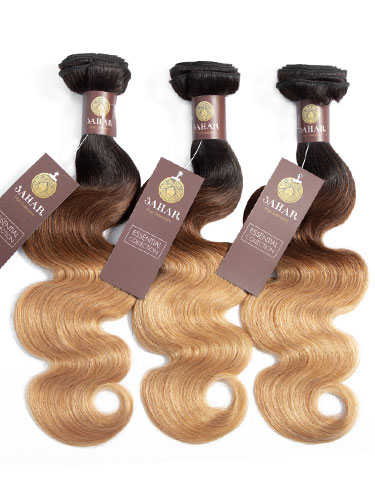 "Sahar Essential Virgin Remy Human Hair Extensions Bundle (8A) - #T1B/4/27 Body Wave 10""+12""+14"" No Closure Part"