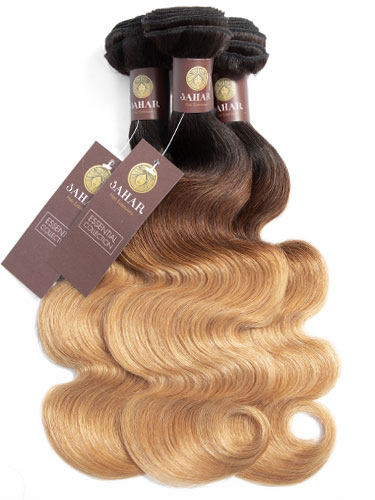 Sahar Essential Virgin Remy Human Hair Extensions Bundle (8A) - #T1B/4/27 Body Wave