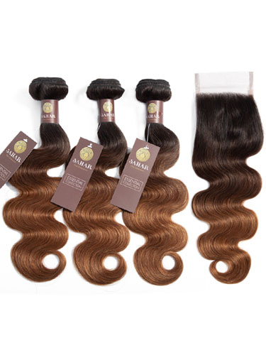 Sahar Essential Virgin Remy Human Hair Extensions Bundle (8A) - #T1B/4/30 Body Wave
