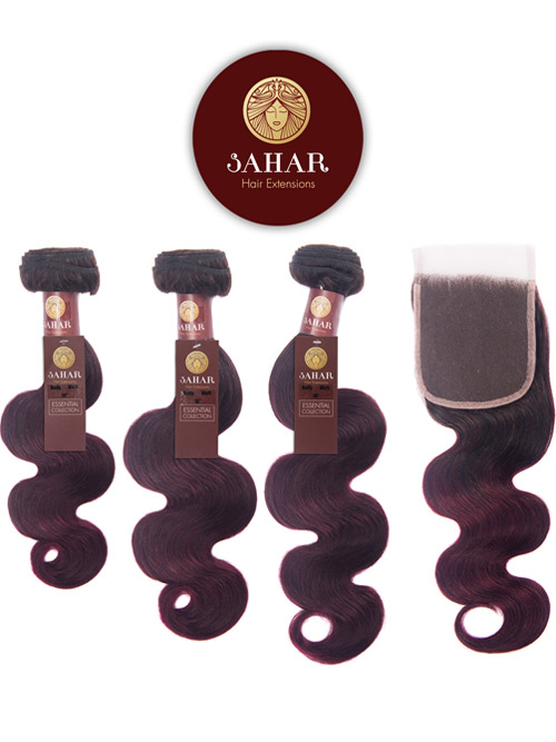 "Sahar Essential Virgin Remy Human Hair Extensions Bundle (8A) - #OT99J Body Wave 14""+16""+18"" Closure 4x4"" 18"""