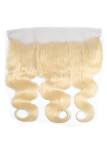 "Sahar Essential Virgin Remy Human Hair Front Lace Closure 4"" x 13"" (8A) - Body Wave #613-Lightest Blonde 18 inch"