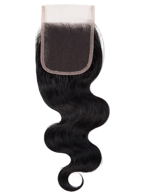 "Sahar Essential Virgin Remy Human Hair  Top Lace Closure 4"" x 4"" (8A) - Body Wave #1B-Natural Black 14 inch"