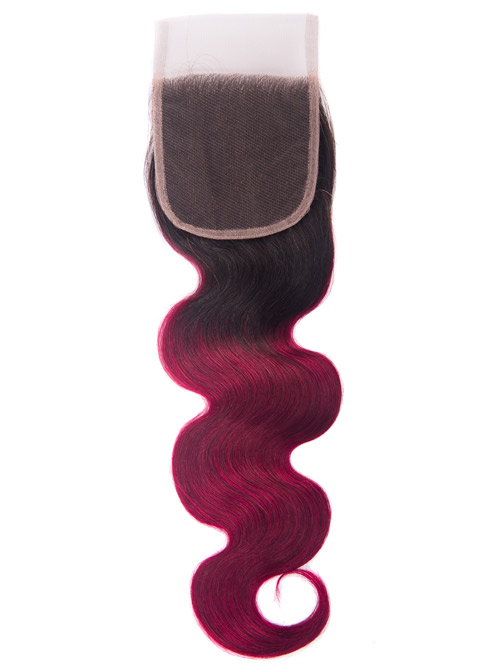 "Sahar Essential Virgin Remy Human Hair  Top Lace Closure 4"" x 4"" (8A) - Body Wave #OT118 16 inch"