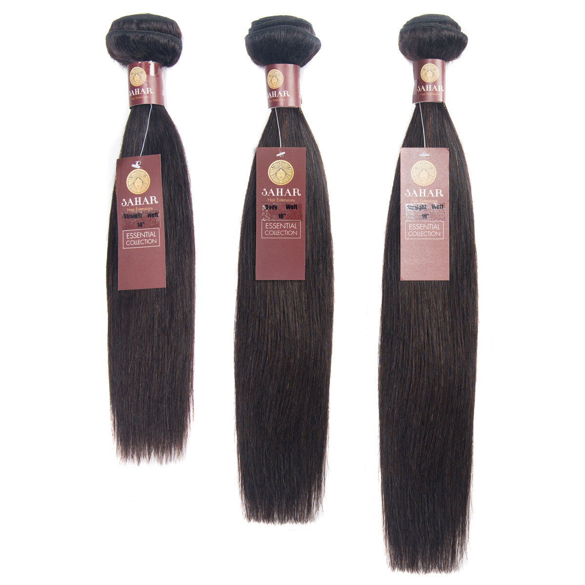 "Sahar Essential Virgin Remy Human Hair Extensions Bundle (8A) - #Natural Black Straight 12""+14""+16"" No Closure Part"