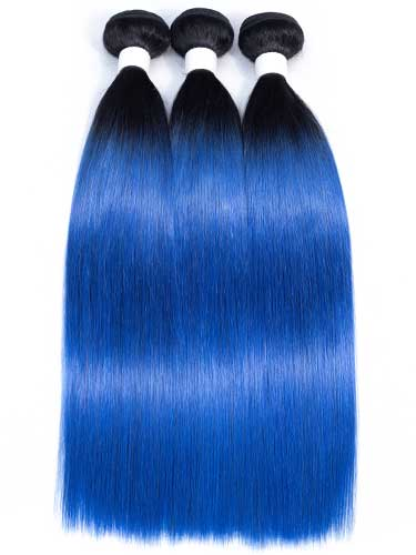 Sahar Essential Unprocessed Brazilian Virgin Weft Hair Extensions Bundle - #Electric Blue Straight