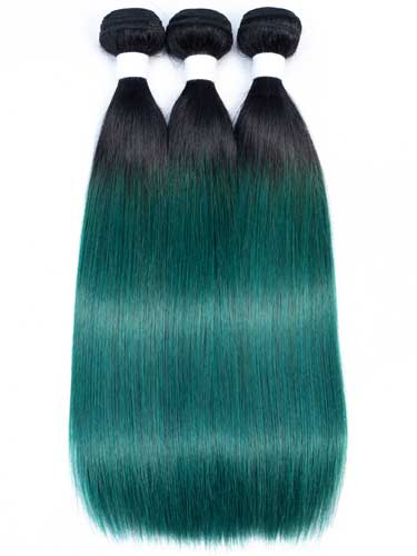 Sahar Essential Virgin Remy Human Hair Extensions Bundle (8A) - #Emerald Green Straight