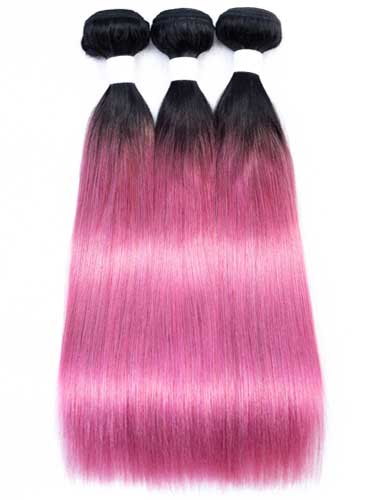Sahar Essential Virgin Remy Human Hair Extensions Bundle (8A) - #Lollipop Pink Straight