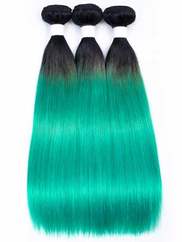 Sahar Essential Virgin Remy Human Hair Extensions Bundle (8A) - #Mermaid Green Straight