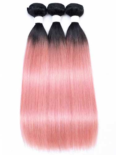 Sahar Essential Virgin Remy Human Hair Extensions Bundle (8A) - #Pink Pastel Straight