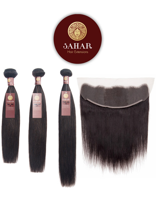 "Sahar Essential Virgin Remy Human Hair Extensions Bundle (8A) - #Natural Black Straight 12""+14""+16"" Frontal 4X13"" 16"""