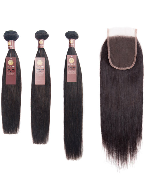 "Sahar Essential Virgin Remy Human Hair Extensions Bundle (8A) - #Natural Black Straight 16""+18""+20"" Closure 4x4"" 12"""