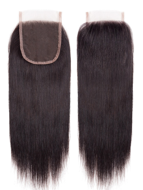 "Sahar Essential Virgin Remy Human Hair Extensions Bundle (8A) - #Natural Black Straight 14""+14""+14"" Closure 4x4"" 16"""