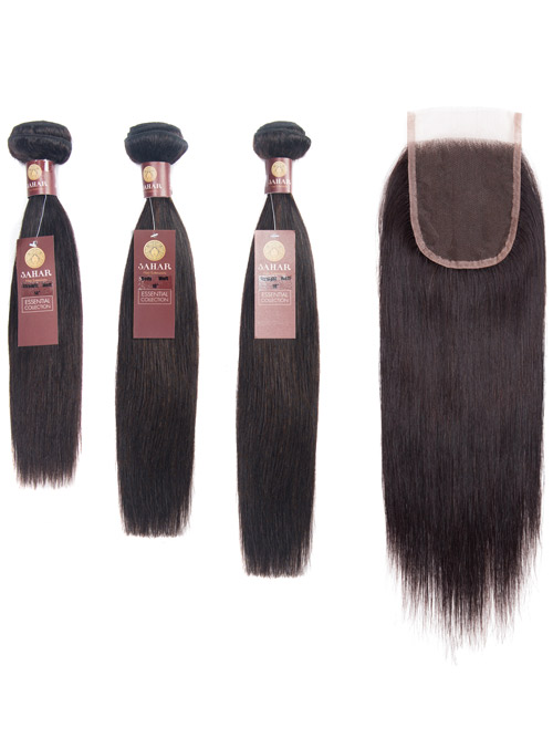 "Sahar Essential Virgin Remy Human Hair Extensions Bundle (8A) - #Natural Black Straight 22""+22""+22"" Closure 4x4"" 12"""