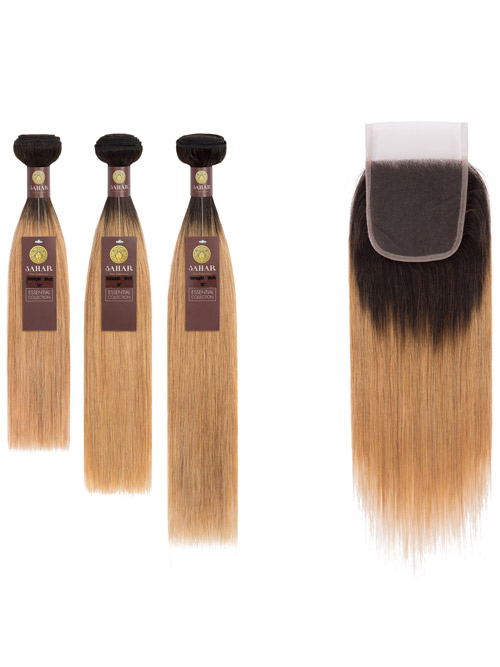 "Sahar Essential Virgin Remy Human Hair Extensions Bundle (8A) - #OT27 Straight 20""+22""+24"" Closure 4x4"" 14"""
