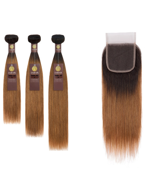 "Sahar Essential Virgin Remy Human Hair Extensions Bundle (8A) - #OT30 Straight 12""+14""+16"" Closure 4x4"" 12"""