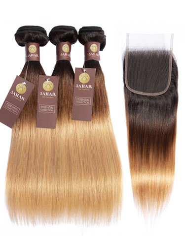 Sahar Essential Virgin Remy Human Hair Extensions Bundle (8A) - #T1b/4/27 Straight