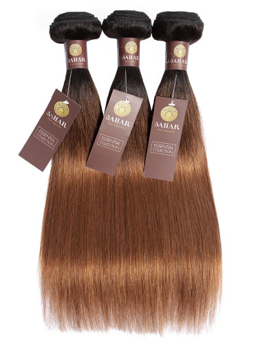 Sahar Essential Virgin Remy Human Hair Extensions Bundle (8A) - #T1b/4/30 Straight