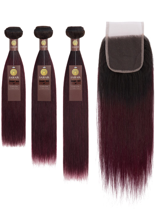"Sahar Essential Virgin Remy Human Hair Extensions Bundle (8A) - #OT99J Straight 12""+14""+16"" Closure 4x4"" 12"""
