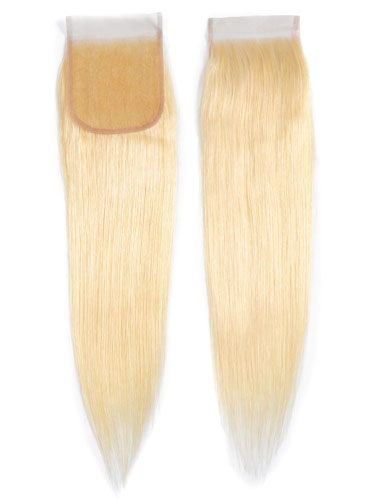 "Sahar Essential Virgin Remy Human Hair Top Lace Closure 4"" x 4"" (8A) - Straight #613-Lightest Blonde 16 inch"