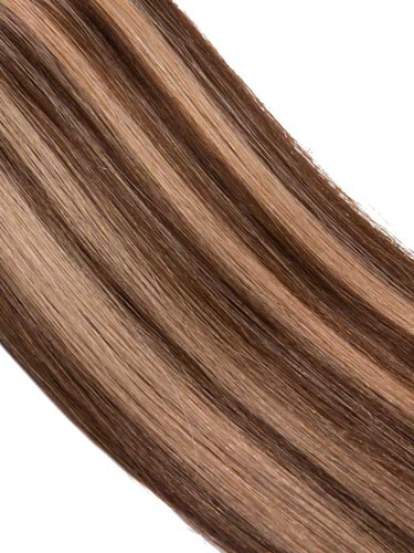 VL Tape In Hair Extensions (20 pieces x 4cm) #4/27 - Chocolate Brown with Strawberry Blonde 18 inch