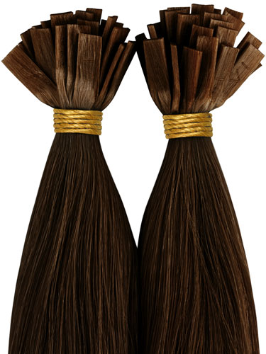 VLII Pre Bonded Flat Tip Remy Hair Extensions #4-Chocolate Brown 18 inch