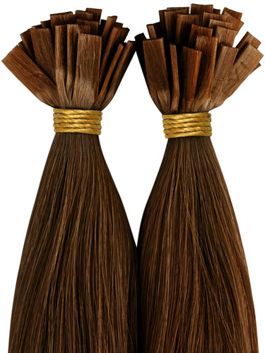 VLII Pre Bonded Flat Tip Remy Hair Extensions #6-Medium Brown 18 inch