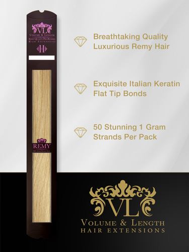 VLII Pre Bonded Flat Tip Remy Hair Extensions #V01/60 18 inch