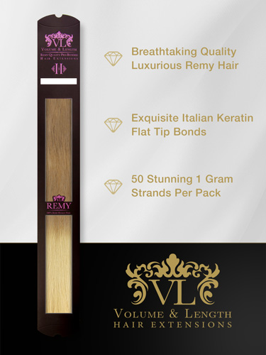 VLII Pre Bonded Flat Tip Remy Hair Extensions #T10/24 18 inch
