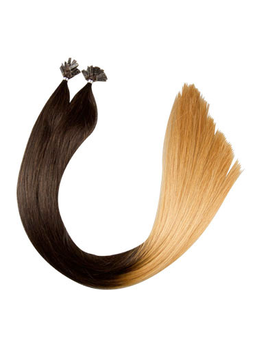 VL Pre Bonded Flat Tip Remy Hair Extensions #T2/27-Dip Dye Darkest Brown to Strawberry Blonde 18 inch