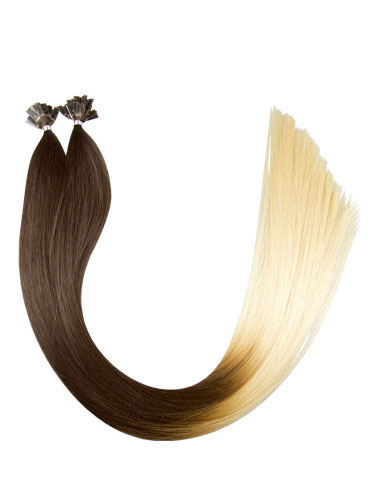 VL Pre Bonded Flat Tip Remy Hair Extensions #T4/613-Dip Dye Chocolate Brown to Lightest Blonde 22 inch