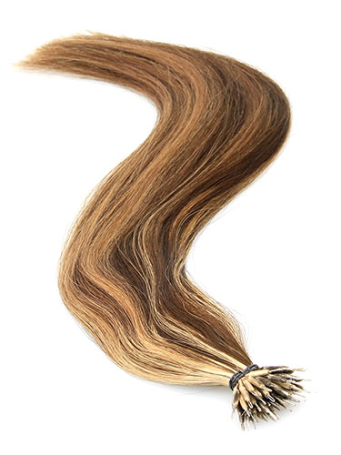 VL Pre Bonded Nano Tip Remy Hair Extensions #4/14-Chocolate Brown with Caramel Highlights 14 inch