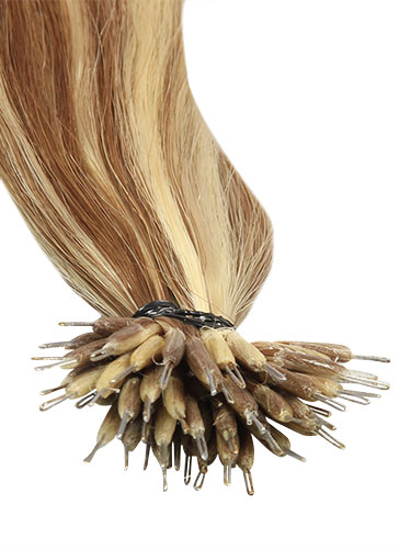 VL Pre Bonded Nano Tip Remy Hair Extensions #6/613-Medium Brown with Lightest Blonde Highlights 14 inch