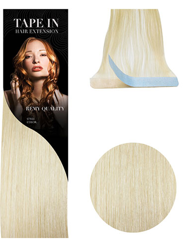 VL Tape In Hair Extensions (10 pieces x 8cm Wide) #613-Lightest Blonde 18 inch