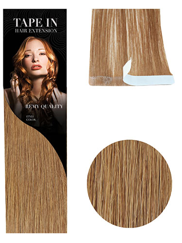 VL Tape In Hair Extensions (10 pieces x 8cm Wide) #8-Light Brown 18 inch