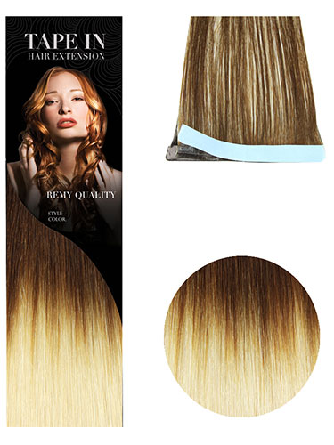 VL Tape In Hair Extensions (10 pieces x 8cm) #T4/613-Dip Dye Chocolate Brown to Lightest Blonde 18 inch