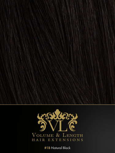 VLII Remy Weft Human Hair Extensions #1B-Natural Black 16 inch 150g
