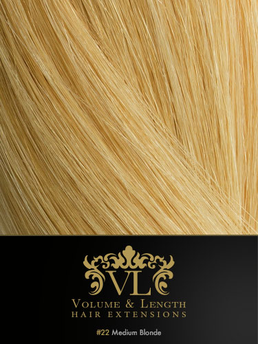 VLII Remy Weft Human Hair Extensions #22-Medium Blonde 18 inch 100g