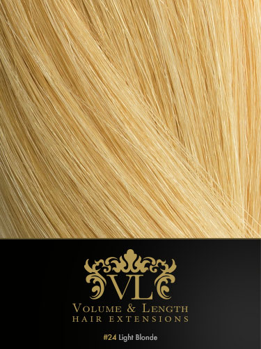 VLII Remy Weft Human Hair Extensions #24-Light Blonde 18 inch 50g