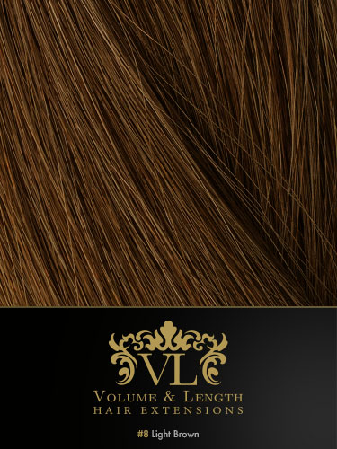 VLII Pre Bonded Flat Tip Remy Hair Extensions #8-Light Brown 18 inch
