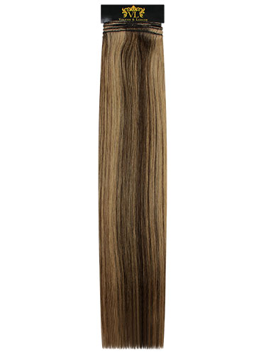 VL Remy Weft Human Hair Extensions #4/14-Chocolate Brown with Caramel Highlights 14 inch 100g