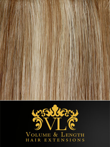VL Remy Weft Human Hair Extensions #6/613-Medium Brown with Lightest Blonde Highlights 14 inch 100g
