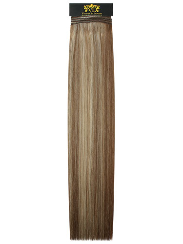 VL Remy Weft Human Hair Extensions #6/613-Medium Brown with Lightest Blonde Highlights 18 inch 100g