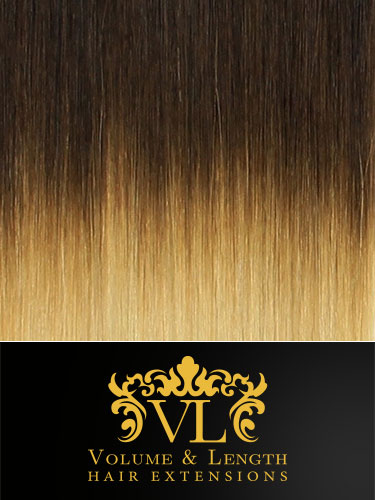 VL Remy Weft Human Hair Extensions #T4/613-Dip Dye Chocolate Brown to Lightest Blonde 14 inch 100g